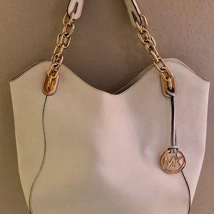 White saffiano leather Michael Kors purse